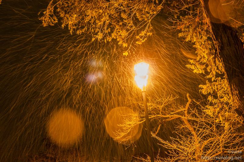 外灯と吹雪