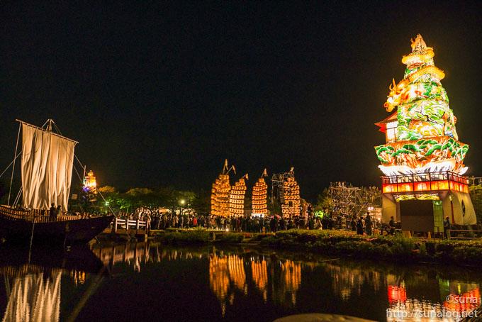立て山鉾と秋田竿燈