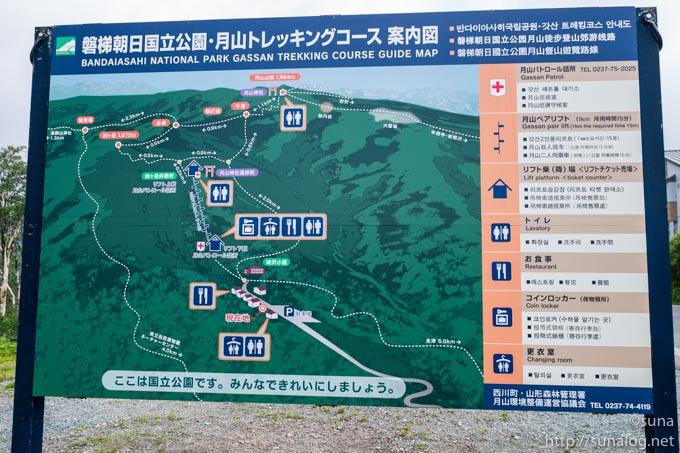 月山登山コースの地図