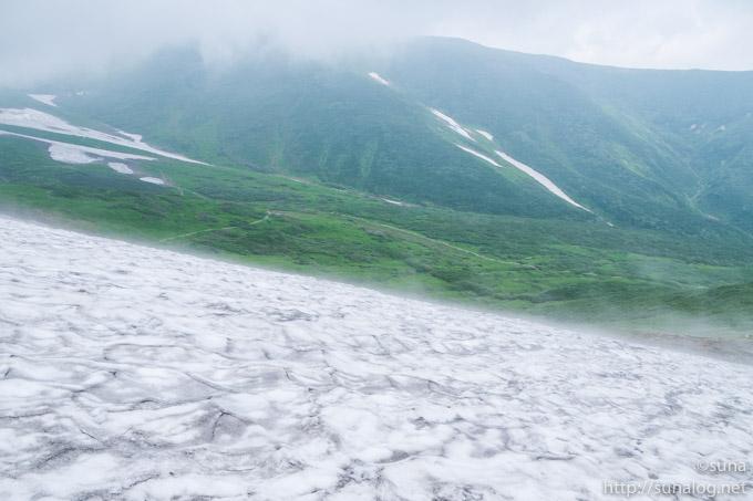 姥ヶ岳近くの雪渓