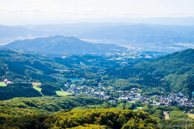 鳥甲山から見た蔵王温泉