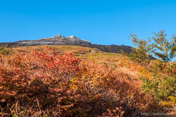 登山道から見る茶臼岳