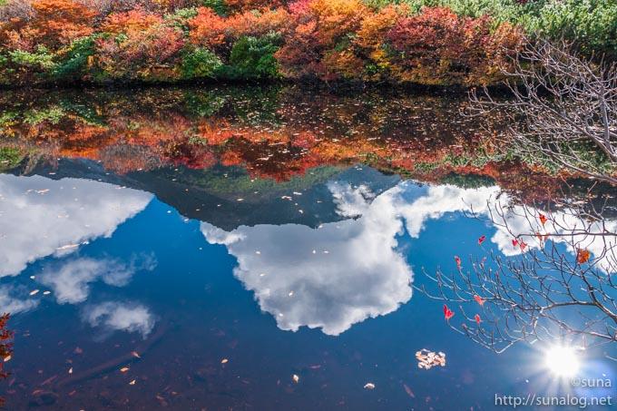 ひょうたん池に写る茶臼岳
