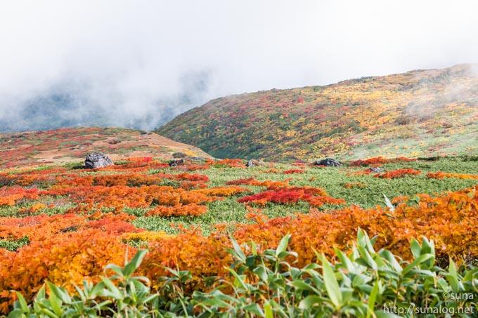 雲の切れ間の月山の紅葉