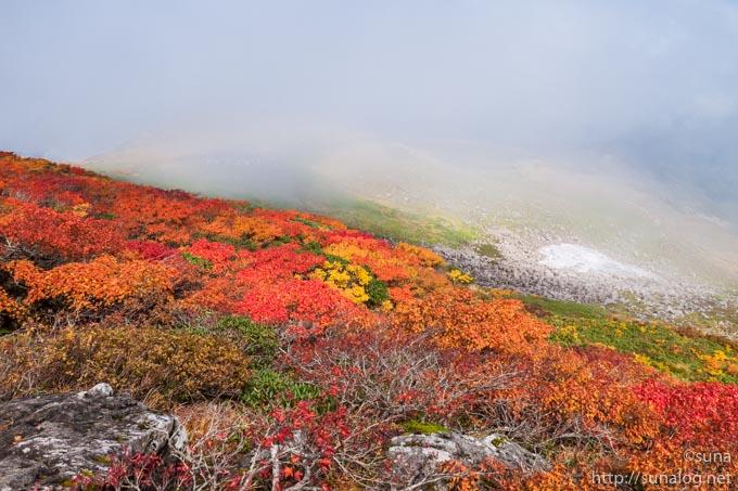 紅葉と霧が晴れていく山々