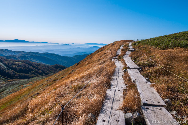 草紅葉と登山道