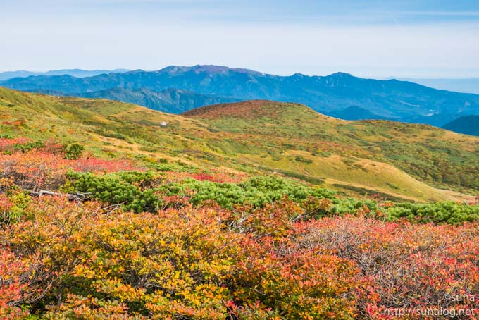 紅葉と遠くの山並み