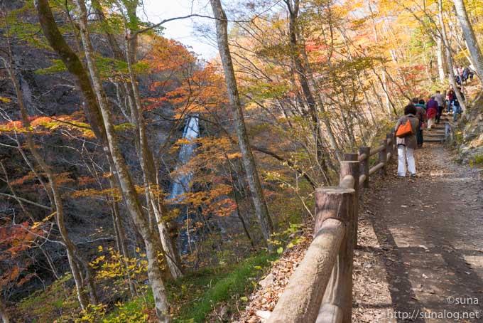 遊歩道と秋保大滝