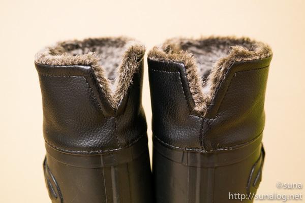 履き口のファーの後ろ側