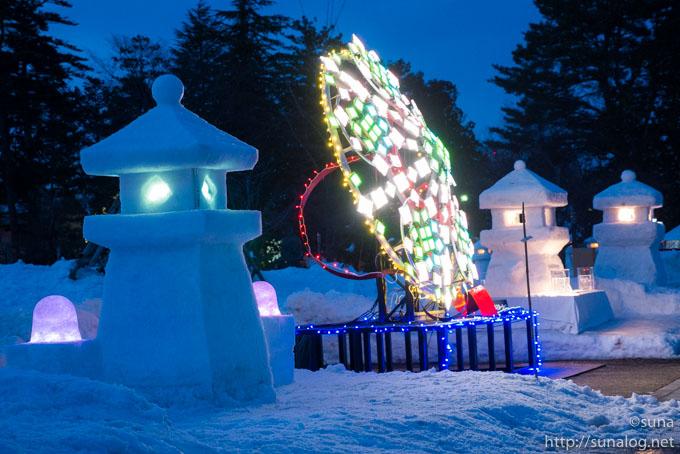 有機ELイルミネーションと雪灯篭