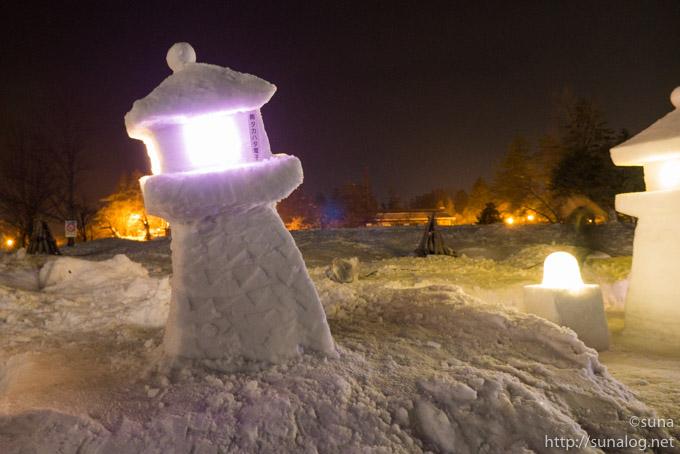 曲がる雪灯篭2