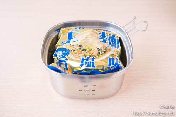 角型ラーメンクッカー+袋麺2個